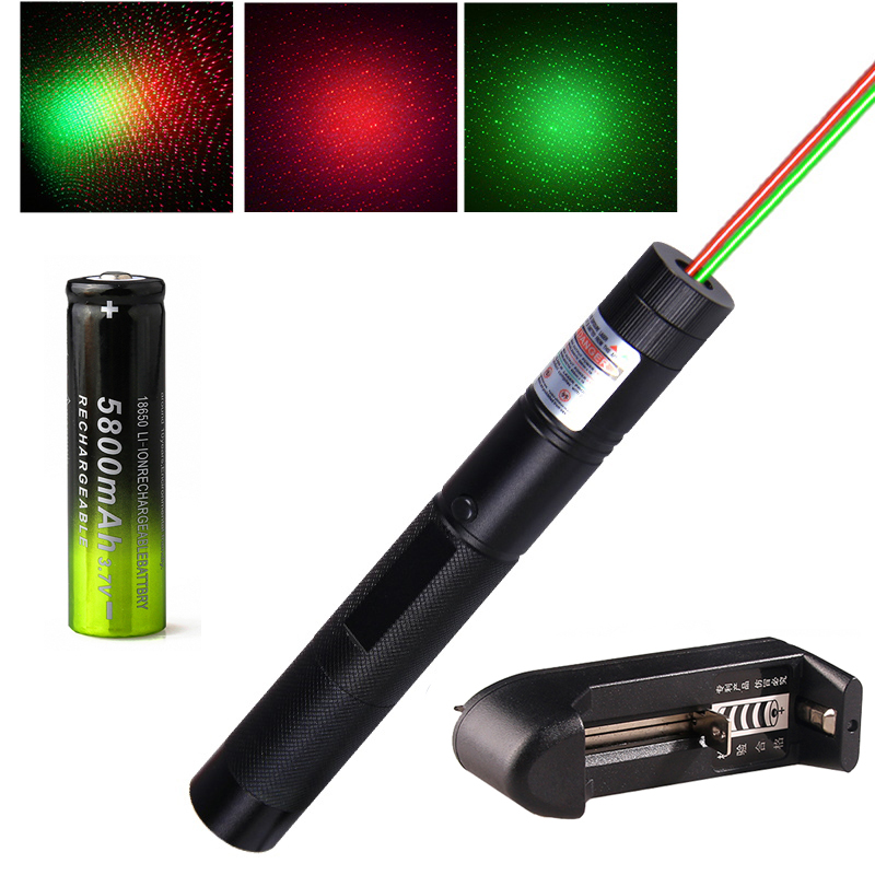 10000m Red+Green Laser Sight 2 In 1 Waterproof High Power Laser 303 Pointer Metal Adjustable Lazer Pen Flashlight