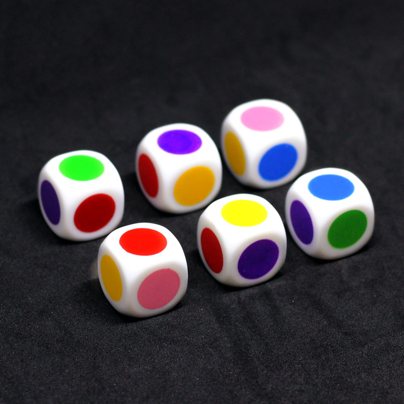 10 Pcs/set 6 Sided Round Colour  Dice Funny Puzzle Game Send Children 16 Mm
