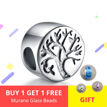 Tree of life Charms Authentic 925 Sterling silver Round Beads Fit Original Pandora Bracelet Women Fashion DIY Silver Jewelry fc jewelry fit original pandora charms bracelet 925 sterling silver family heart tree of life mom lockets beads necklace pendant