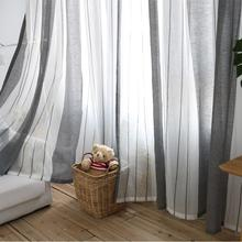 100*250cm Nordic Style Simple Modern Curtains for Living Room Shade Imitation Linen Curtain Bedroom Striped Fabric
