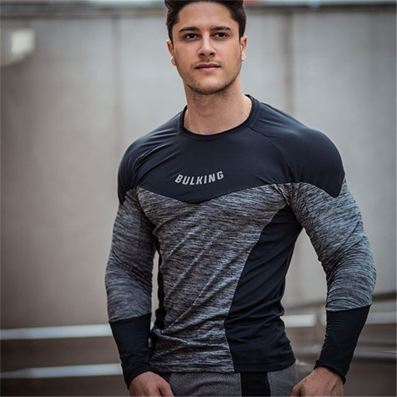 T-Shirt Men 2019 Autumn Long Sleeve Stitching Colours O-Neck T Shirt Men Brand Clothing Fashion Fitness Cotton Tee Tops Clothing