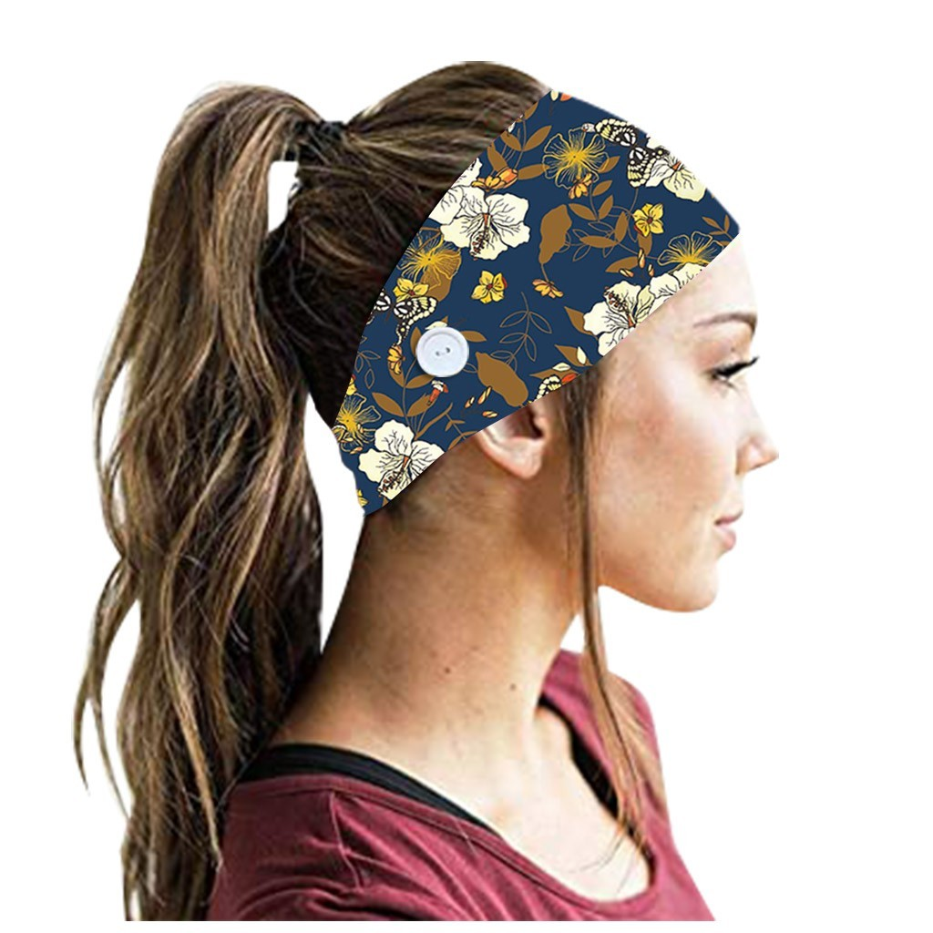 Button Headband Face Mask Holder Wearing Protect Ears Sport Running Quick Dry Sweat Hair Band Mask Accessories Unisex #T1P