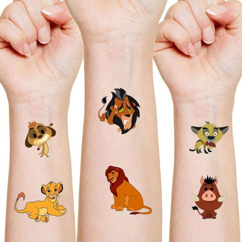 Disney Simba PUMBAA Originales autocollant de tatouage aléatoire 1 pièces figurine d'action le roi Lion dessin animé enfants filles cadeau d'anniversaire de noël