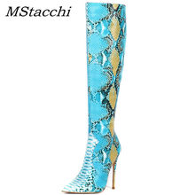 MStacchi Nieuwe Mode Blue Snake Skin Vrouwen Botas Mujer Invierno 2019 Wees Teen Over-De-Knie Hoge Laarzen dames Sexy Party Schoen(China)