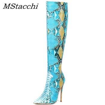 MStacchi nueva moda serpiente azul piel Mujer Botas Mujer Invierno 2019 punta sobre-el-hasta la rodilla Botas de señoras Sexy zapato de fiesta