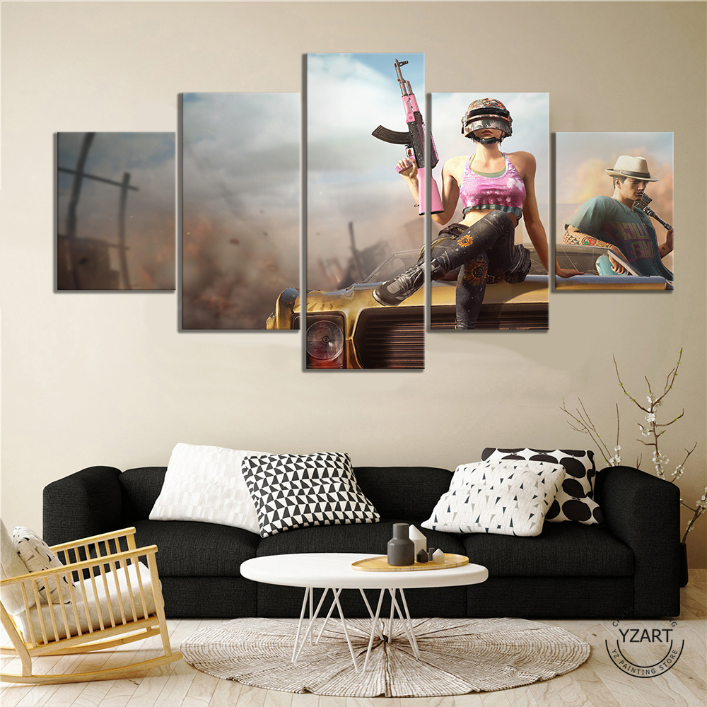 5pcs PUBG Warrior Poster Paintings HD Wall Picture Canvas Paintings for Bedroom Decor PUBG Game Poster 4