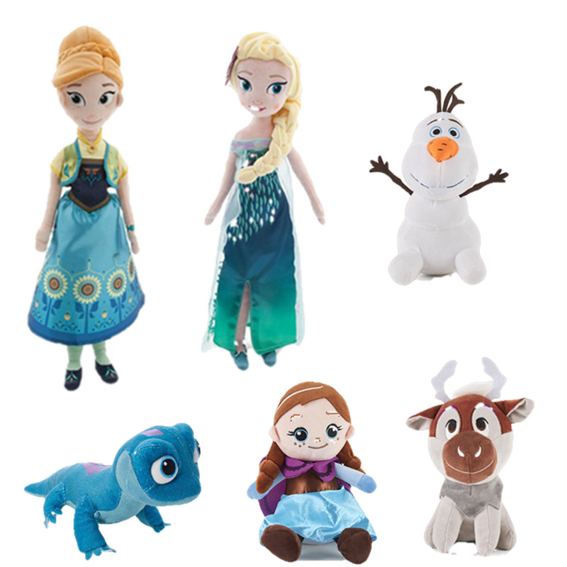 Disney Frozen 2 Anna Elsa Plush Toy Stuffed Doll New Fire Lizard Fever Fire Elves Snowman Olaf Princess Plush Doll For Kid Chil