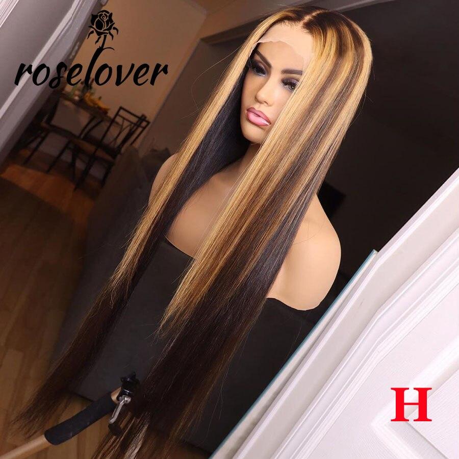 Parte profunda frente do laço peruca de cabelo humano em linha reta destaque cor do cabelo pré arrancado linha fina nós descorados brasileiro remy cabelo