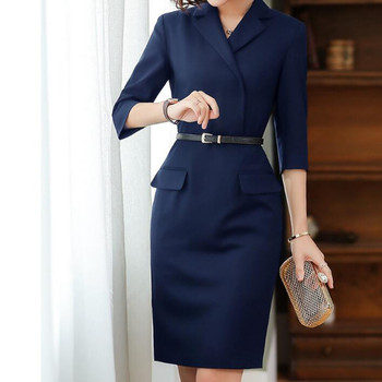 Women 2020 Autumn High Quality Dress Office Ladies Work Wear Formal Elegant Slim Pencil Midi Dresses Blazer Female Party Vestido