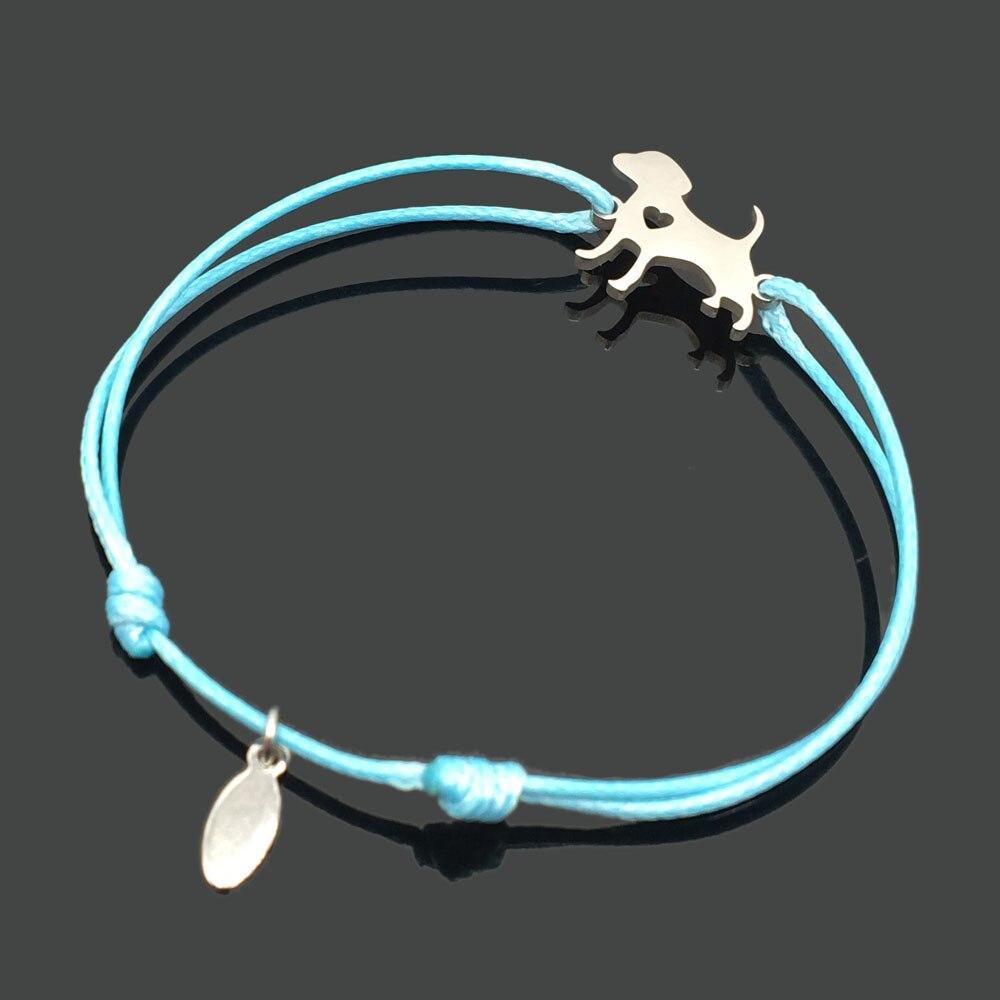 2 шт браслет желаний из нержавеющей стали, регулируемый шнур, хороший браслет, приносящий удачу, красный браслет дружбы - Окраска металла: stainless dog