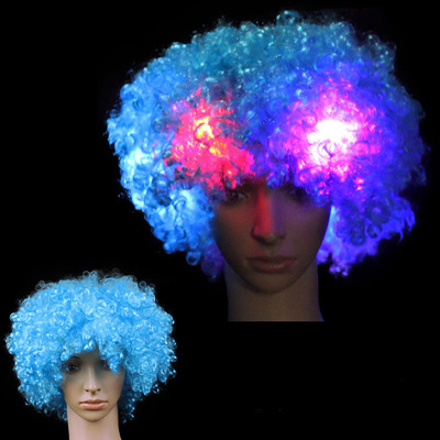 Fashion New LED Light up Flashing Hair Wig Clown Fans Party Props Halloween