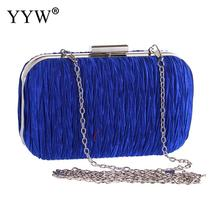 Womens Black Clutch Purse Pleated Evening Bag For Bridal Wedding Party With Chain Bride Wallet Pochette Femme