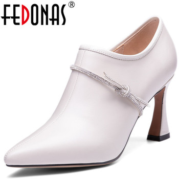 FEDONAS Women Side Zipper High Heels Pumps Spring Summer Cow Leather Party Shoes Sexy Night Club Newest Pointed Toe Shoes Woman
