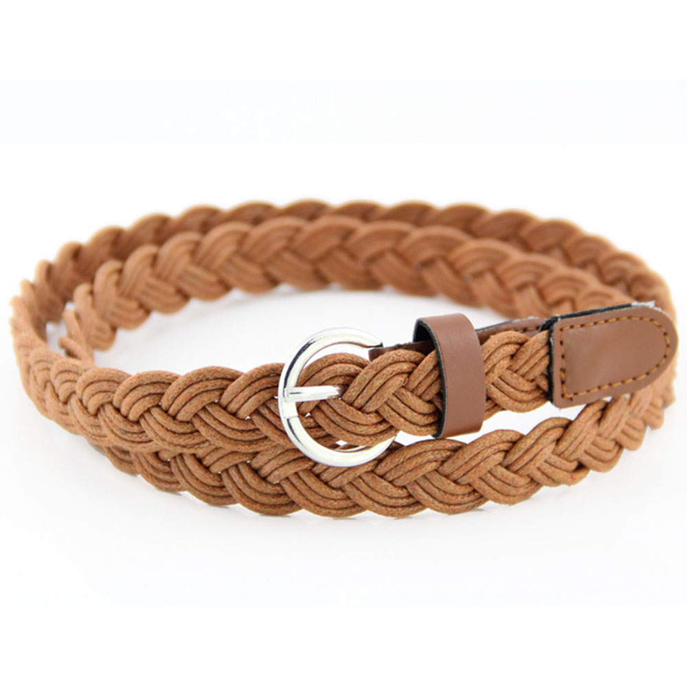 New Korean Fashion Casual Womens Belt Brief Knitted Candy Colors Hamp Rope Braid Belt Female Belt For Dress High Quality
