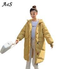 Женская Длинная зимняя куртка с капюшоном и хлопковой подкладкой