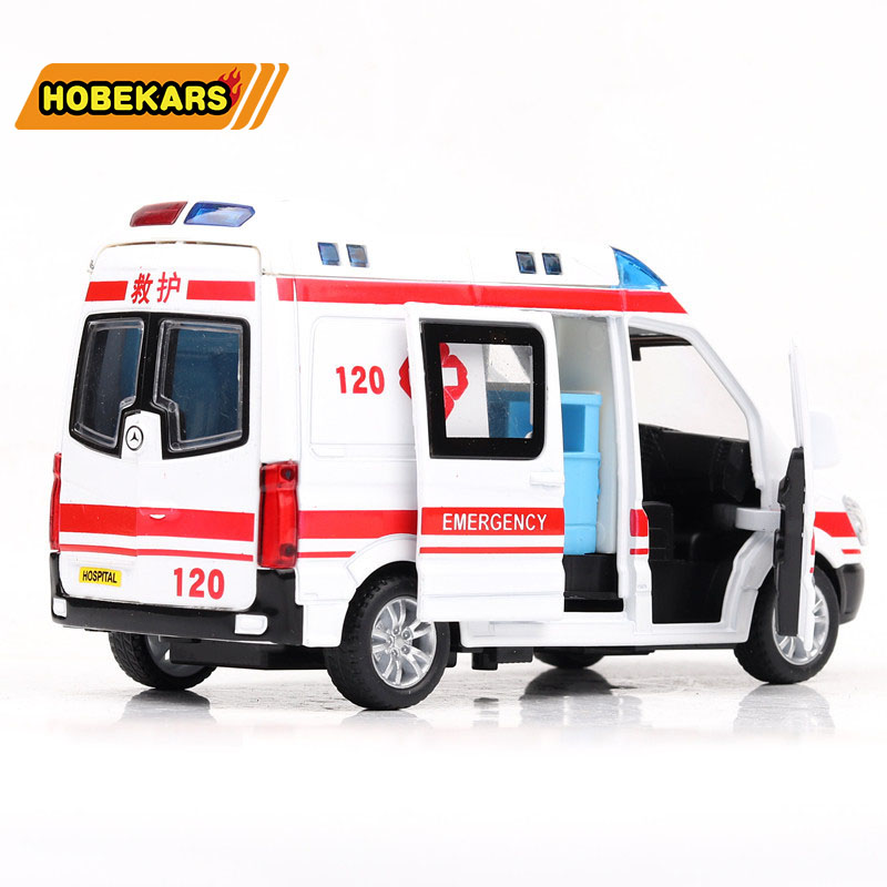 High Simulation 1/36 Diecast Model Toy Car Ambulance Metal Alloy Pull Back Cars Toys Vehicles For Kids Gifts For Children
