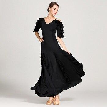 Woman Ballroom Dress Waltz Dance Dress Foxtrot Spanish Flamenco Dress Dance Wear Black Dancing Clothes Standard Social Dress