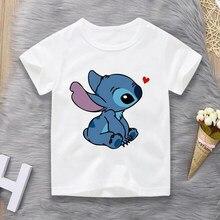 Crianças camiseta disney cartoon lilo & ponto topos para meninas traje de verão moda ullzzang bebê manga curta 3-12t menino roupas
