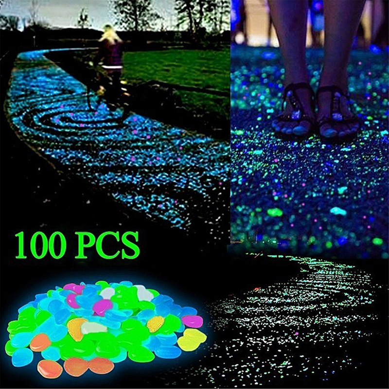 100 Pcs Luminous Stone Large Pebbles Stone Glow In The Dark Home Garden Walkways Aquarium Fish Tank Colorful Garden Decorations