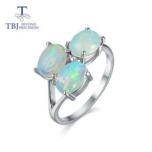 Image 1 - Tbj, 3 חתיכה למעלה איכות אופל טבעת סגלגל 6*8mm 2.8ct חן תכשיטים 925 סטרלינג כסף מתנה נשים אשת חברה