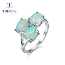 Tbj, anillo de ópalo de alta calidad de 3 piezas oval 6*8mm 2.8ct gema joyería fina 925 Plata de Ley presente para mujer esposa novia
