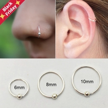 925 Sterling Silver Nose Ring Trendy Helix Cartilage Tragus Nose Piercing Jewelry 6mm 8mm 10mm 20pcs/Pack