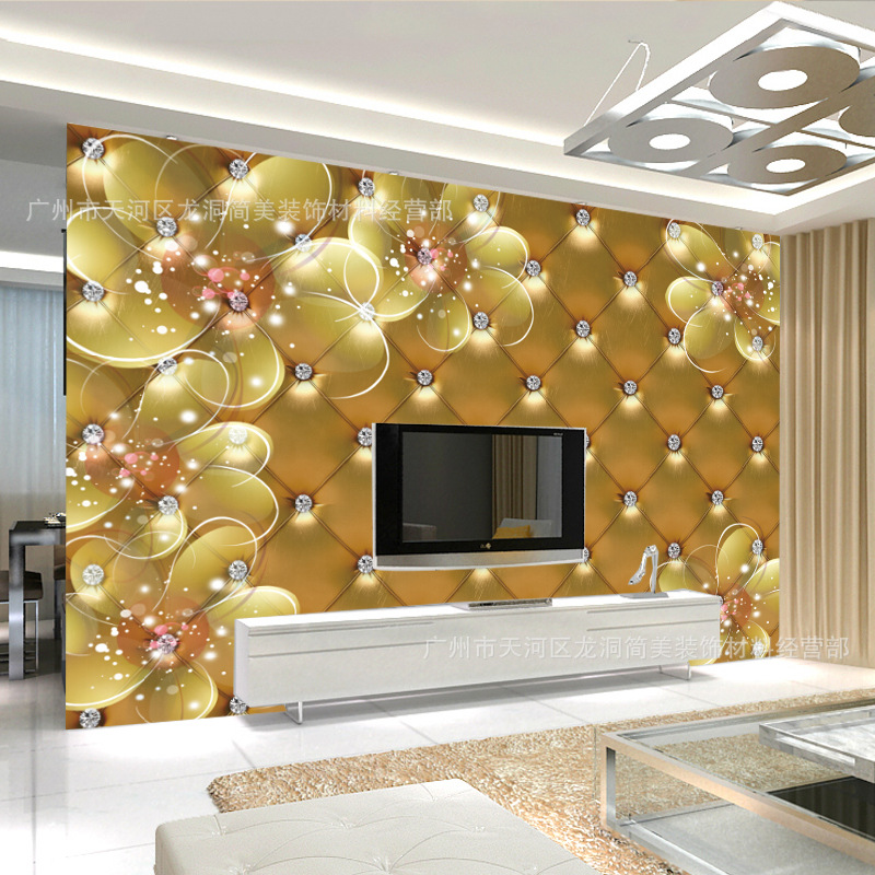3D Soft Bag TV Backdrop Wallpaper Mural Large Living Room Bedroom Non-woven Wallpaper Gold Soft Background Wall