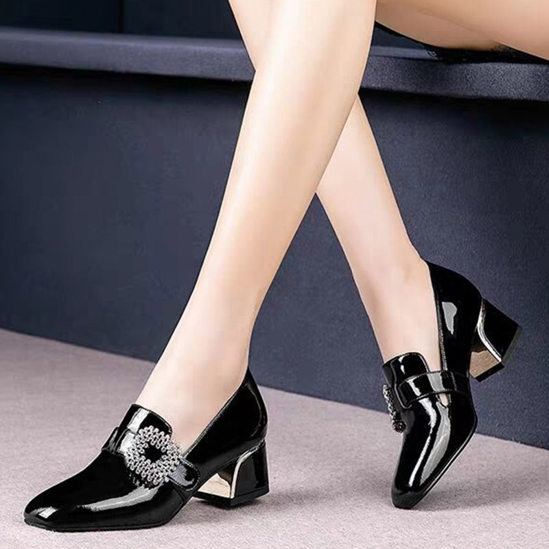 Women's Patent Leather Buckle Pumps Spring Woman Crystal Slip On Square Toe Chunky Heels Female Fashion Ladies Dress Shoes