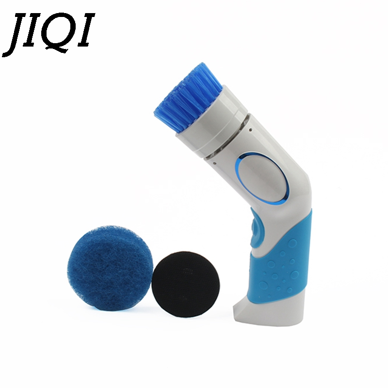 JIQI Hand Held Electric Dishwasher Mini Dishes Washing Machine Kitchen Bowl Cleaning Dishwashing Bath Cleaner Replaceable Brush
