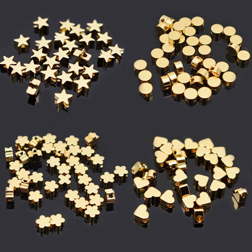 6mm Pentagram heart cross Butterfly shape Beads Metal Copper beads Gold Loose beads for Jewelry Making DIY Bracelet hole 1.7mm