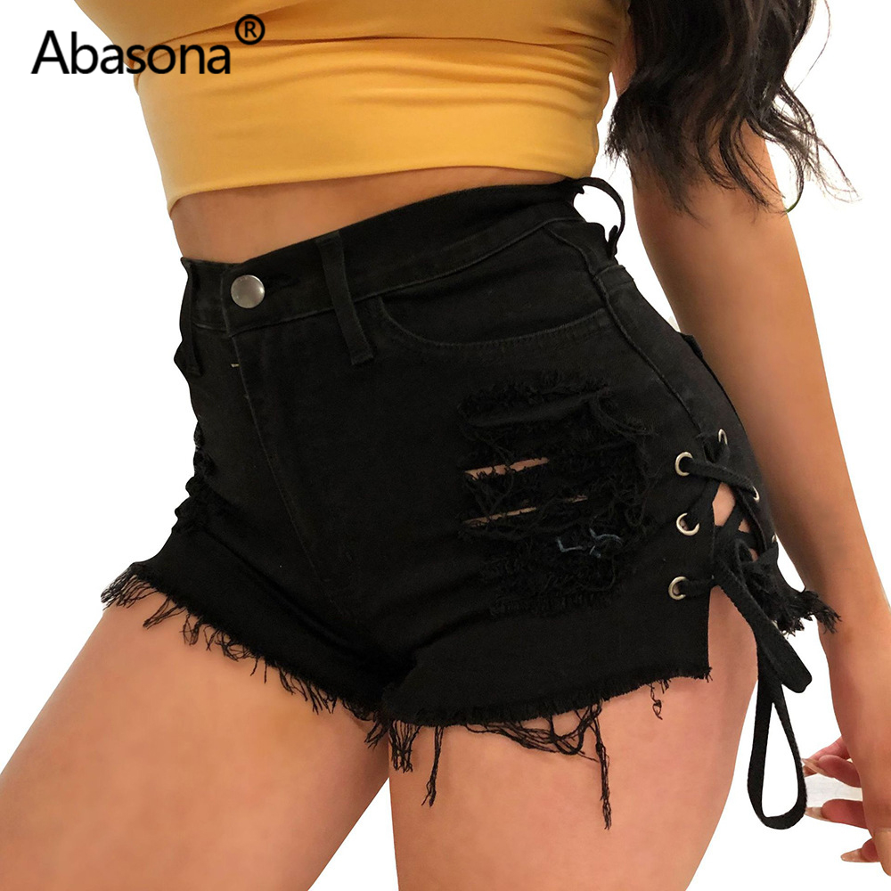 Abasona Black Denim Jeans Shorts Tassel Lace Up Slit Summer Women 2020 Sexy Bodycon Streetwear Mid Waist Basic Casaul Shorts