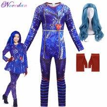 Meninas descendentes 3 evie cosplay trajes com luvas peruca crianças festa de carnaval macacões fantasia traje de halloween para crianças