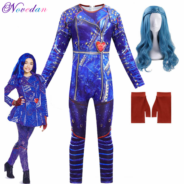 Big Discount 02e05 Girls Descendants 3 Evie Cosplay Costumes With Wig Gloves Children Carnival Party Jumpsuits Fantasia Halloween Costume For Kids Cicig Co