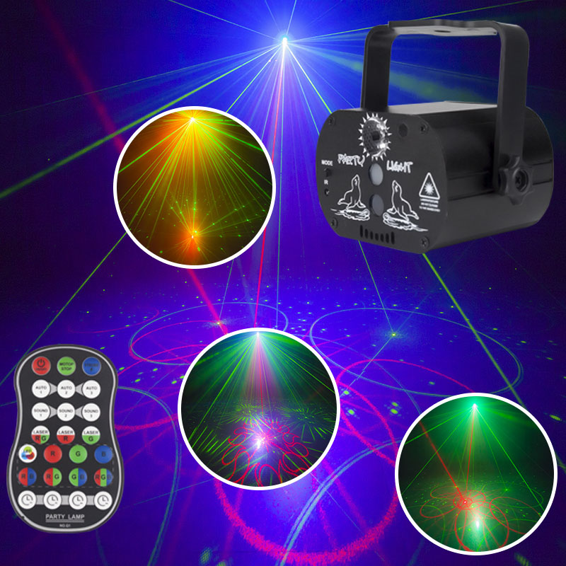DJ Disco Light DJ Laser Stage Projector Stage Lighting Effect USB Rechargeable Wedding Birthday Party DJ Lamp With Controller