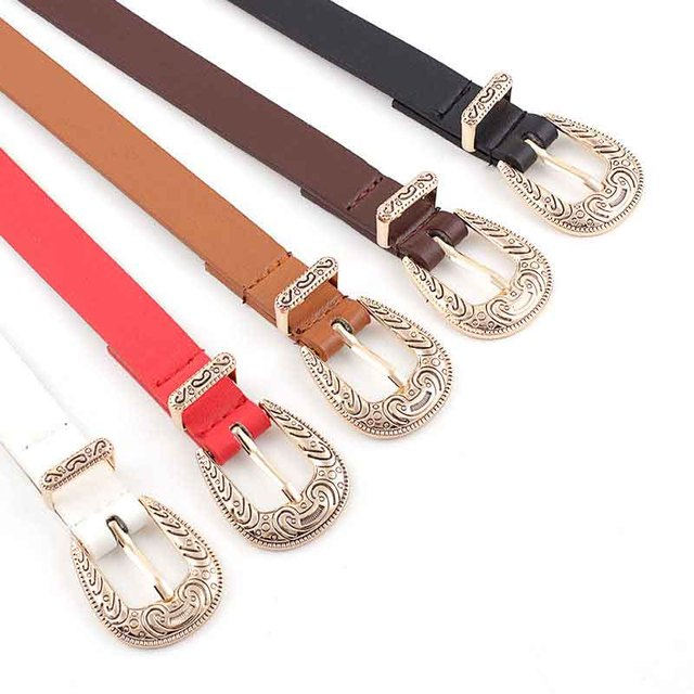 2019 Women's Fashion High Quality Vintage Cave Pin Buckle Belt Luxury Thin Leather Belt Designer Belt Jeans Dress 2