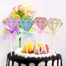AVEBIEN 5pcs Sparkling Diamond Cake Topper Dessert Decoration for Wedding Birthday Party Cake Topper Pastry Cake Insertion Decor lovely sika deer cake topper cake decoration party wedding dessert decoration home decor miniature terrarium figurines ornaments