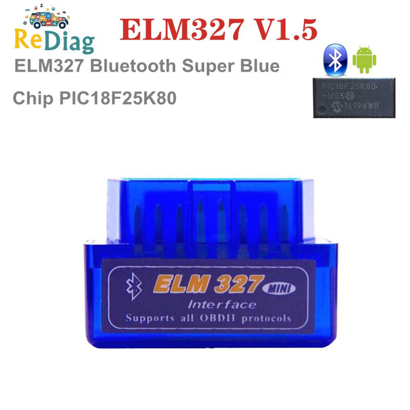 10Pcs/Lot Super MINI <font><b>ELM327</b></font> <font><b>Bluetooth</b></font> Version <font><b>1.5</b></font> With PIC18F25K80Chip OBD2 OBDII for Android Torque Automotive Code Scanner image