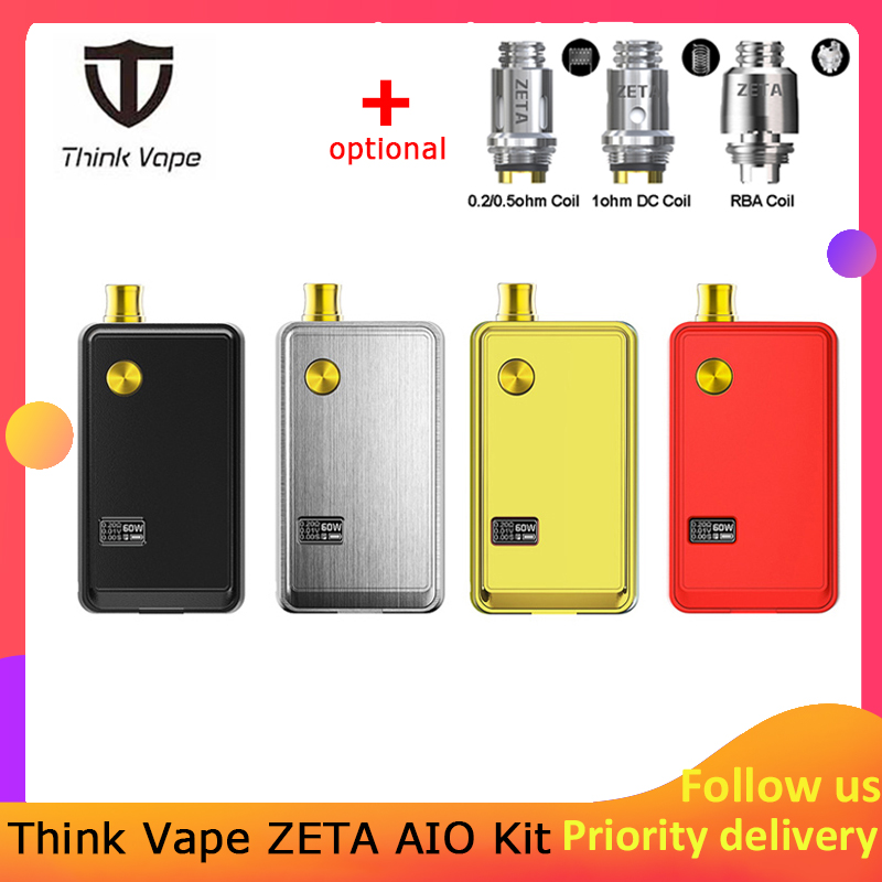 Think Vape ZETA AIO 60W Pod Kit Powered By Single 18650 Battery Box Mod 3ml Tank E-cigarette Big Smoke Atomizer