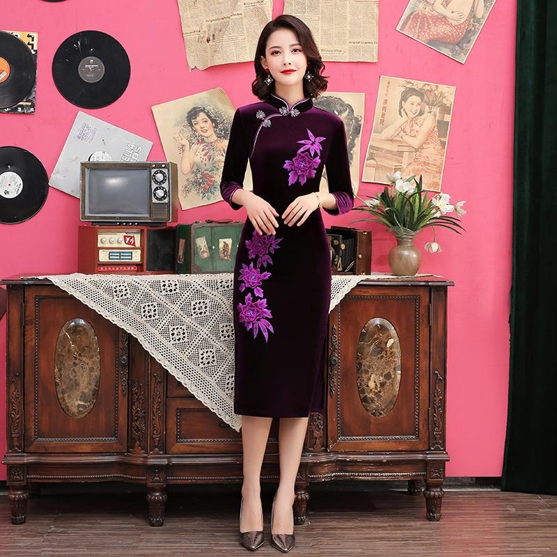 Velour Purple Elegant Evening Party Dress Chinese Women Half Sleeve Cheongsam Mandarin Collar Print Flower Qipao Plus Size