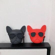 Cão de Estimação quente 3D vermelho Saco de silicone macio Tampa Da Caixa de fone de Ouvido Sem Fio de Carregamento para A Apple AirPods 1 2 Buldogue Francês caso do bluetooth