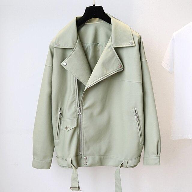 Fitaylor New Spring Women Loose Pu Faux Leather Jacket with Belt Streetwear Moto Biker Black Coat BF Style Oversized Outwear 2