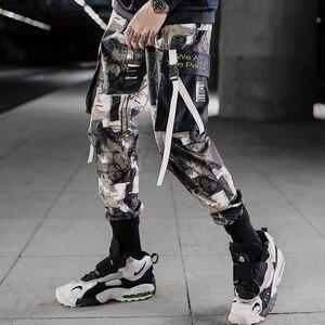 Men Ribbons Streetwear Cargo Pants Autumn Hip Hop Joggers Pants Overalls Black Fashions Baggy Pockets Trousers(China)