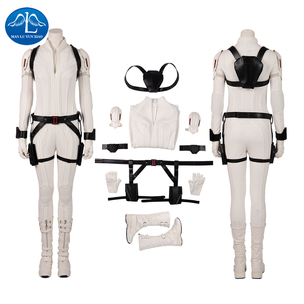 Manluyunxiao Black Widow Cosplay Natasha Romanoff White Jumpsuits Halloween Costume For Women Marvel Superhero Masquerade Outfit