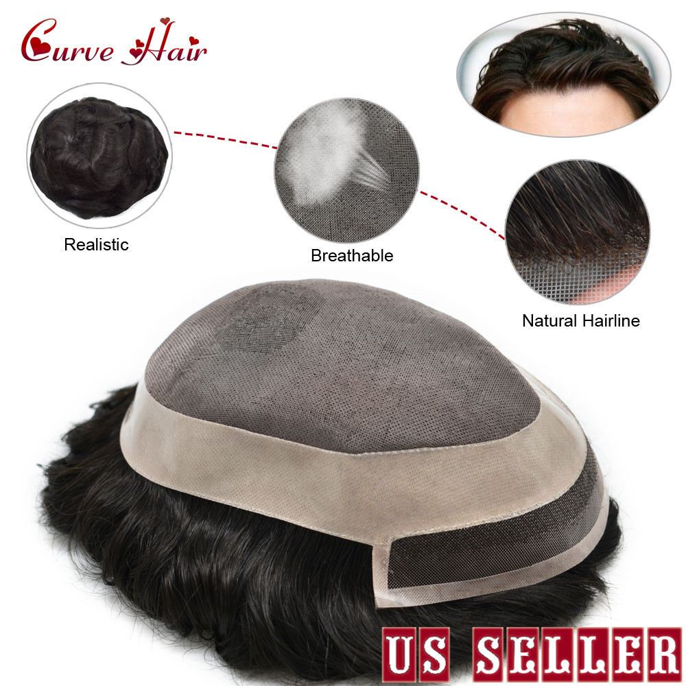 Fine Mono With Poly Around Mens Toupee 100% Human Hair All Hand Tied Light To Medium Density Black Hair Replacement System 1B#