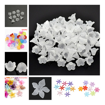 цена на DoreenBeads White Lily Flower Frosted Acrylic Beads caps 14x10mm, sold per packet of 40 Hot new