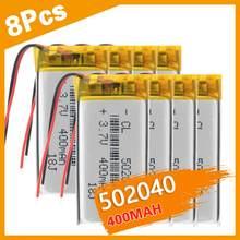 3/4/8 PCS 3.7V akumulatory baterie litowo-polimerowe 502040 400 mah z PCB dla MP3 MP4 GPS PSP E-book zabawka elektryczna LED Light