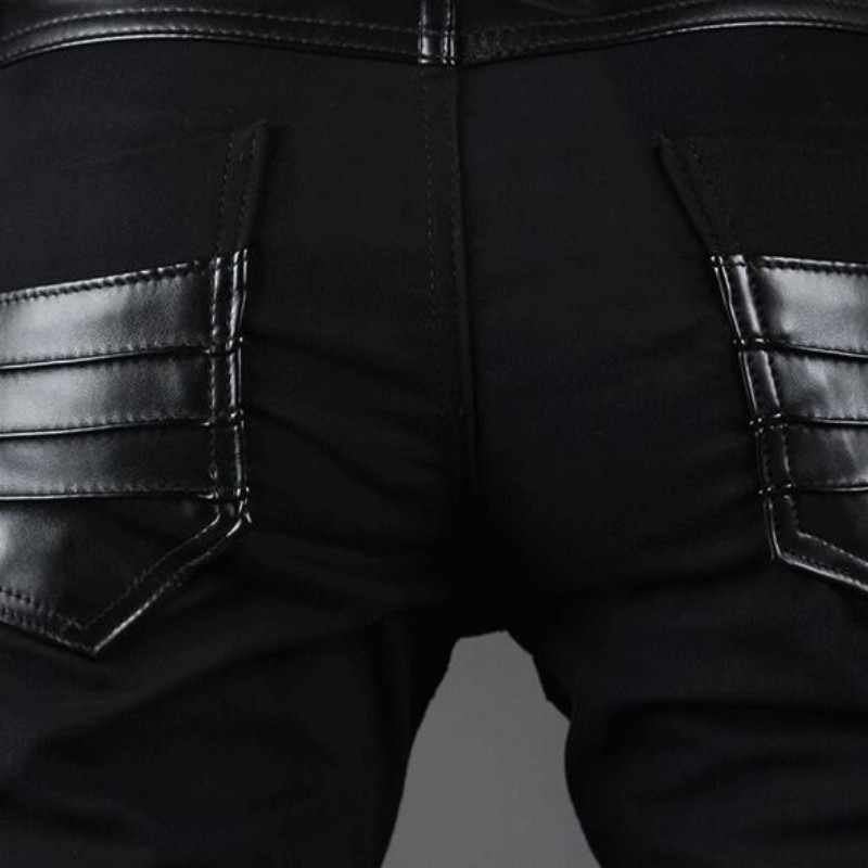 Heren Faux Pu Lederen Broek Fake Ritsen Lange Faux Leather Slim Fit Potlood Broek Mode Patchwork Punk Skinny Hombre Broek