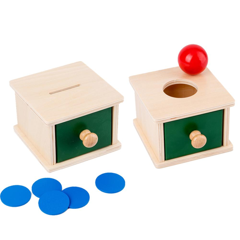 Montessori Preschool Material Object Permanent Storage Box With Tray Ball Practice Hand-eye Coordination
