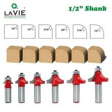 """LAVIE 6 adet 12mm 1/2 """"Şaft Köşe Yuvarlak ve Boncuk Kenar Yönlendirici Bit Seti C3 Karbür Uçlu zıvana ahşap için kesici MC03138"""