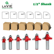 """LAVIE 6 sztuk 12mm 1/2 """"Shank Corner okrągłe i frezowanie krawędzi zestaw bitów rozwiertaków C3 z końcówką węglikową czop nóż do drewna MC03138"""